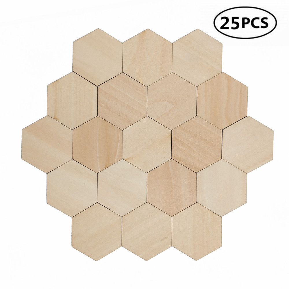 25pcs 50mm 1.96inch Charming Hexagon Shaped MDF Wood Cut Wooden Embellishment DIY Craft Shapes For Crafting Scrapbooking