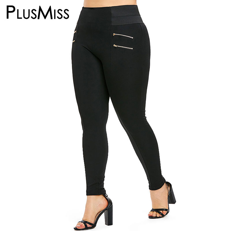 PlusMiss Plus Size XXXXXL High Waist Zips Embellished   Leggings   XXXXL XXXL Women Skinny Leggins Pants Legins Black Jeggings Big