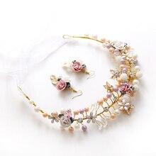 Dote me Oro Aretes Hechos A Mano Diadema Nupcial Pelo de la Perla de La Flor Tiara De La Boda Accesorios de La Joyería