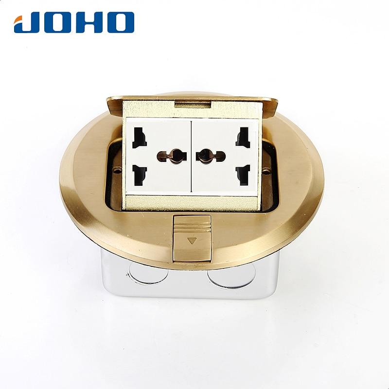 цена на JOHO Brass Socket 6 Hoel Round Type Floor Box Panel With 10A Double Universal Sockets Pop Up Type Power Ground Socket