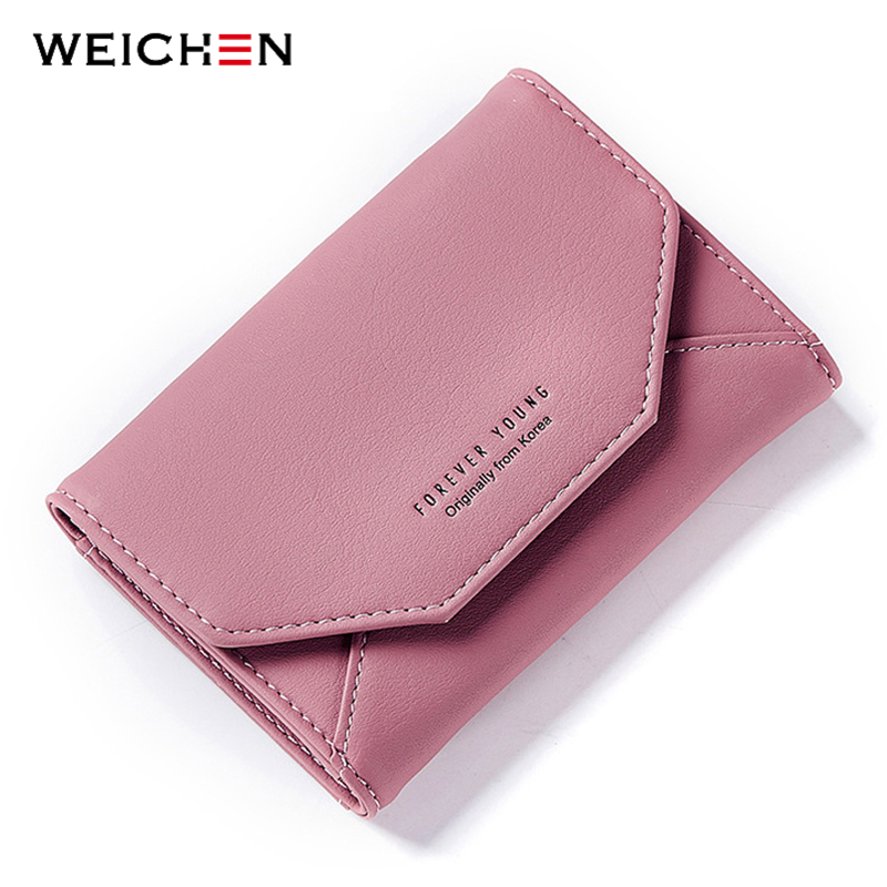 WEICHEN 2018 New Ladies Small Purse Wallet Envelope Shape Women Slim Wallet Hasp Coin Pocket Card Holder Female Carteira Purses casual weaving design card holder handbag hasp wallet for women