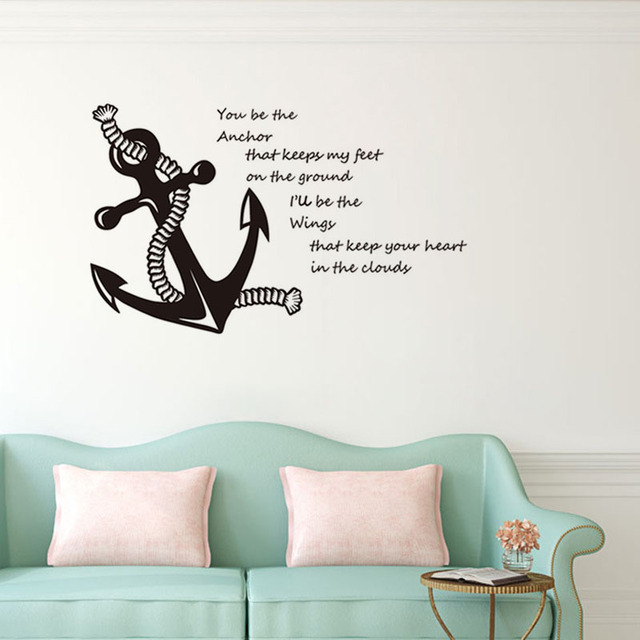 You be the anchor quotes vinyl wall decals rope and anchor art stickers for living room
