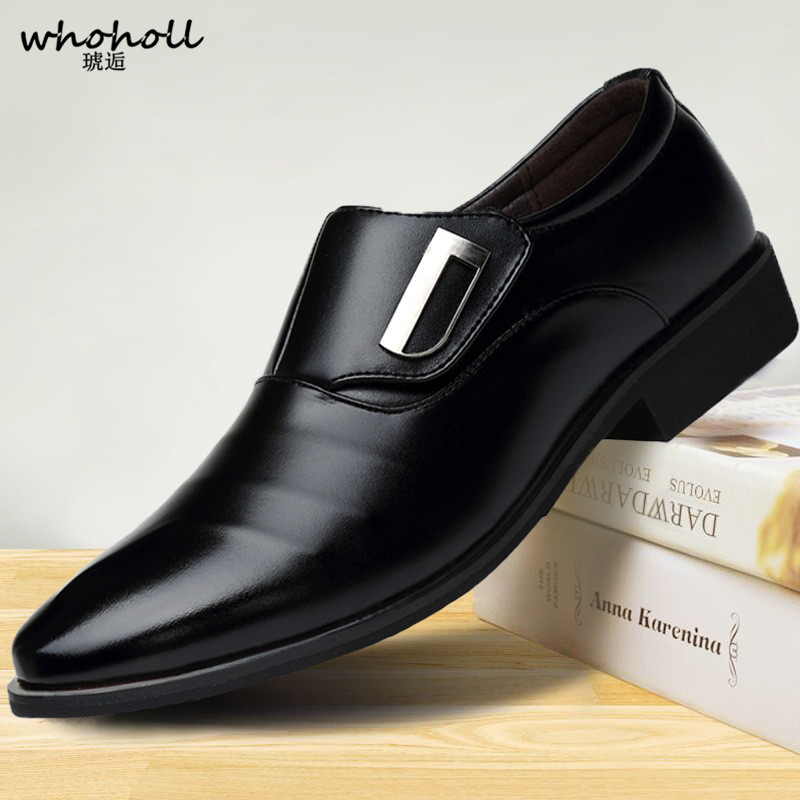 1c020ded7fa3 WHOHOLL 2018 Man Flat Classic Men Dress Shoes PU Leather Wingtip Carved  Italian Formal Oxford Plus Size 38-48 for Winter
