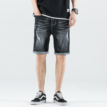 Summer Fashion Men Jeans Shorts Vintage Short Ripped For Elastic Streetwear Hip Hop Denim