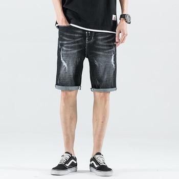 Summer Fashion Men Jeans Shorts Vintage Short Ripped For Elastic Streetwear Hip Hop Denim
