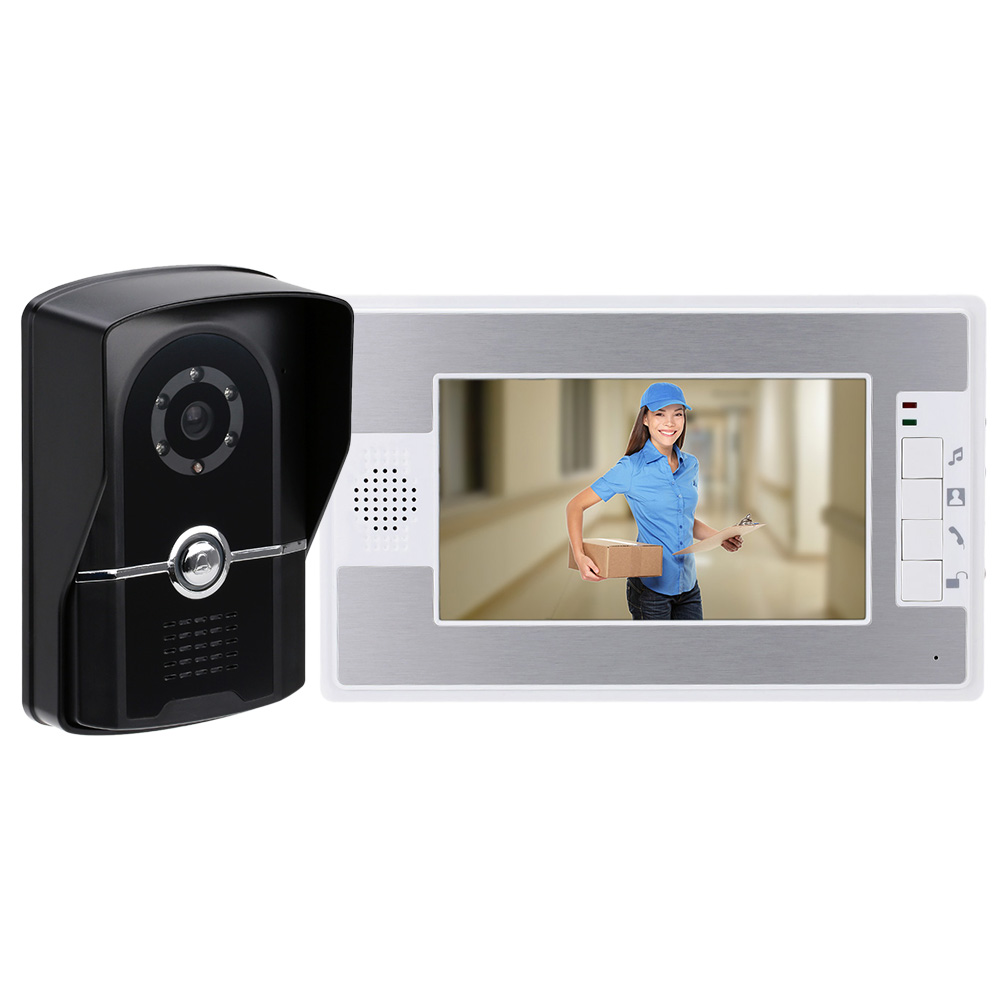 "Hot Sale 7"" TFT Wired Color Video Door Phone Night Visual phone Doorbell  intercom System 700TVL Camera Speakerphone Intercom-in Video Intercom from  Security ..."