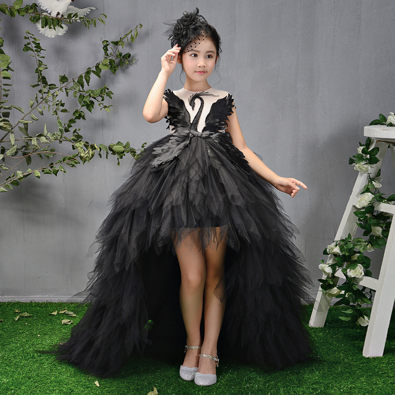 Luxury Long Trailing Flower Girl Dresses Beading Ball Gown Kids Pageant Dress Birthday Stunning Swan Feather Princess Dress B106 real picture kids evening gown luxury flower girl dresses for wedding long trailing princess dress ball gown beading dress
