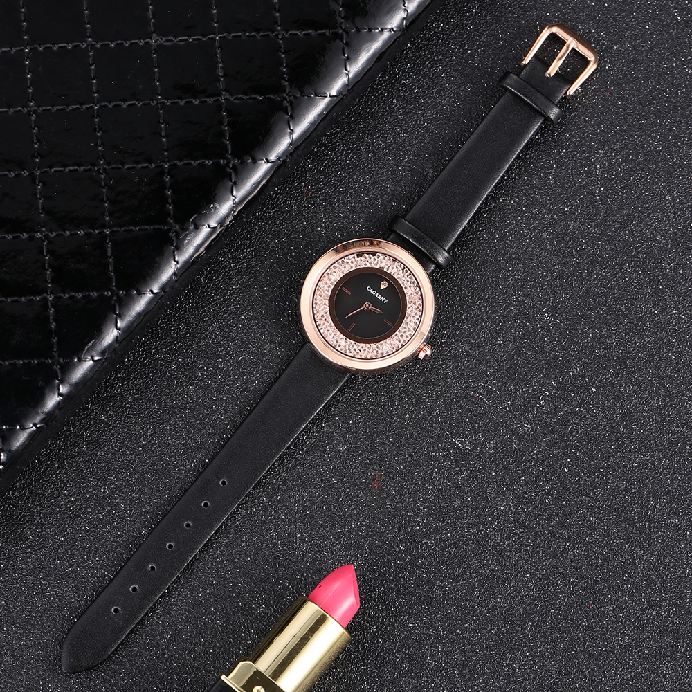 luxury brand quartz watch for women fashion ladies wristwatches rose gold case vogue leather strap with crystal free shipping (7)