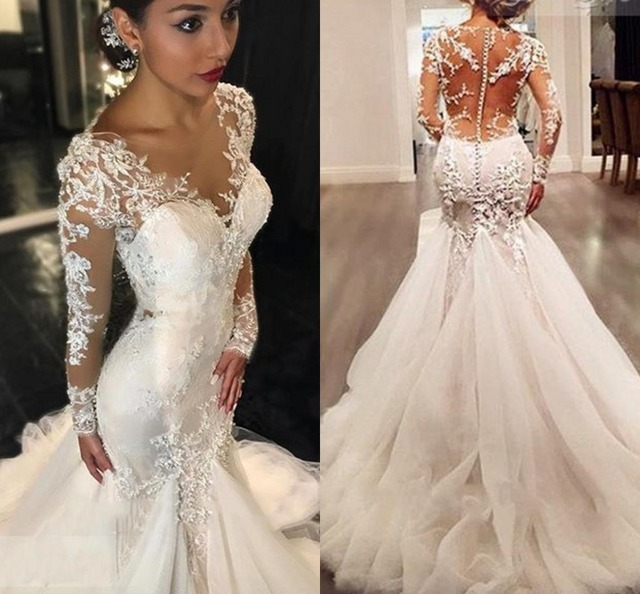 Hot Factory Price Gauze Scoop Neck Long Sleeves Lace Liques Court Train Mermaid Wedding Dresses