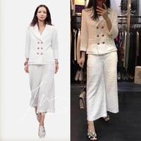 2017 two piece set women tweed jacket and pants set,5xl 6xl blazer feminino top suit,elegant mujer completo plus size office set