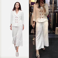 2017 two piece set women tweed jacket and pants set,5xl 6xl blazer feminino top suit,elegant mujer completo plus size office set
