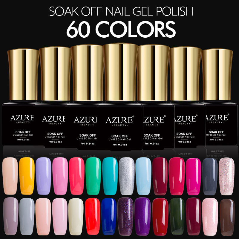 AZURE BEAUTY 7ML Gel Polish Nail Gel Paint 60 Gorgeous Colors Azure Nail Gel Glue UV Gel Varnish Soak Off Hybrid Lacquer Enamel