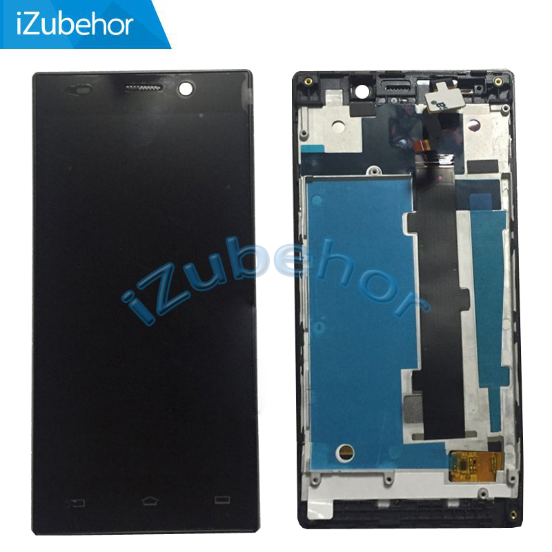 100% Warranty black LCD Display Screen with touch screen digitizer +frame assembly for Philips Xenium V787 by Free Shipping image