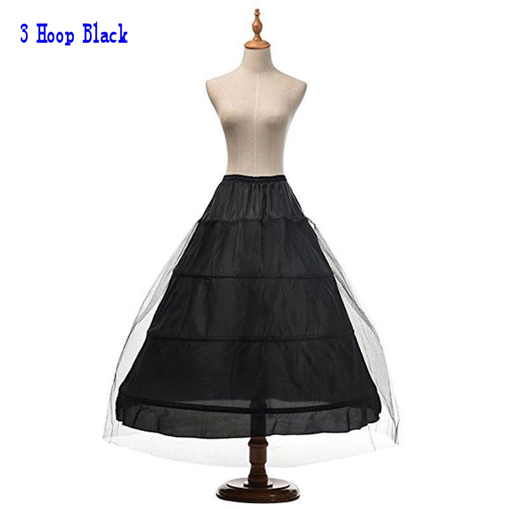 White Black 6 Hoops Bridal Wedding Dress Petticoat Crinoline Skirt Underskirt Wedding Accessories Jupon Mariage