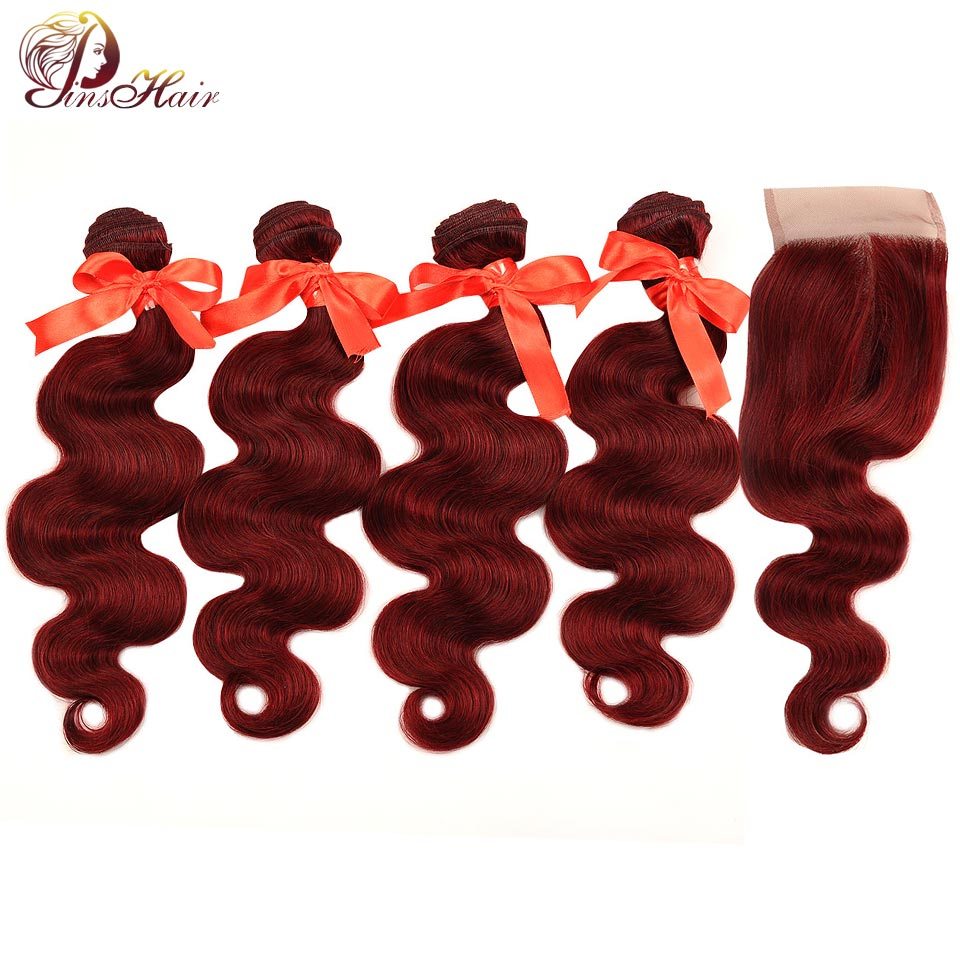Pinshair 99J Malaysian Body Wave Hair Red Bundle With Closure Burgundy 100 Human Hair Weave 4 Bundles With Closure Non Remy Hair