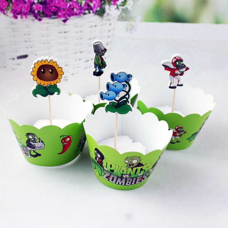 24 шт Растения против Зомби кекс обертка для капкейков детские Душ Дети День Рождения Вечеринка свадебные украшения принадлежности