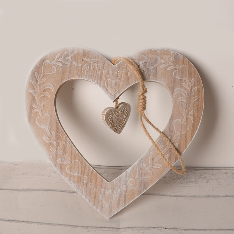 Two Heart Craft Wooden Decor Hangings Wall Decoration Wood Party