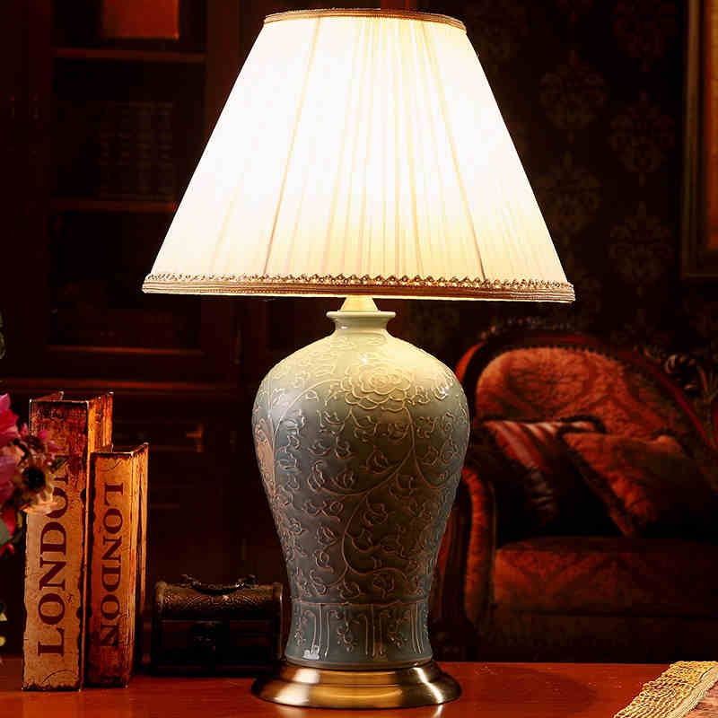 Jingdezhen Vintage Style Porcelain Ceramic Desk Table Lamps For Bedside Chinese Blue And White Lamp Traditional In From Lights
