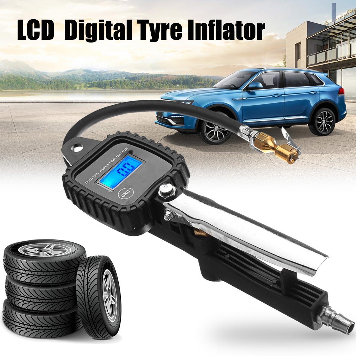 100 PSI LCD Digital Car Tire Preseure Gauge Meter Tester Motorcycle Truck Vehicle Tyre Meatel Air Pressure Inflator Gauges Hose