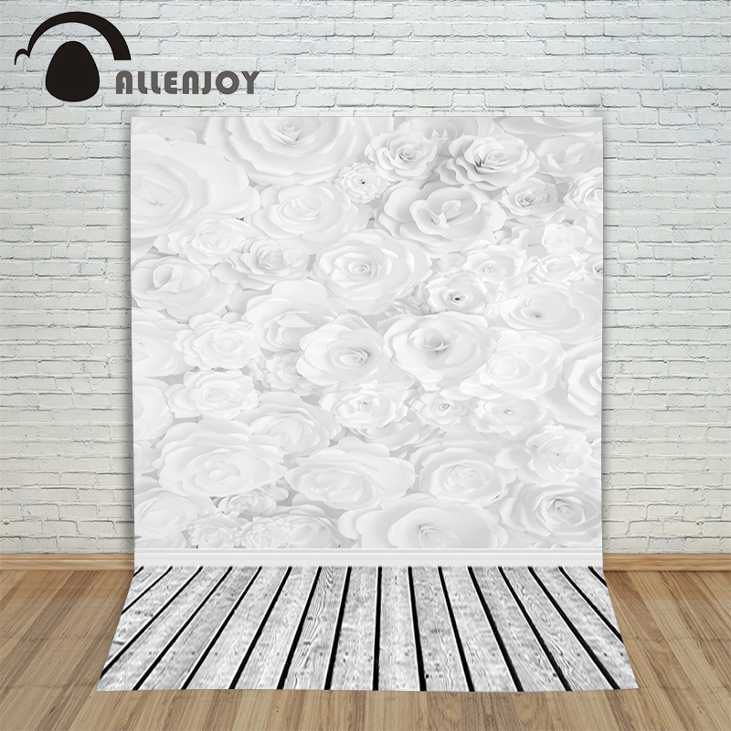 Allenjoy foto background White flowers bloom 3D wood customization Photophone backgrounds for photo studio backdrop photograph new arrival background fundo white color flowers 300cm 200cm about 10ft 6 5ft width backgrounds lk 2546