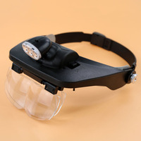 1 2X 3 5X Hands Free Magnifier Helmet Magnifying Glass Loupe With Lamp 4 Lens For