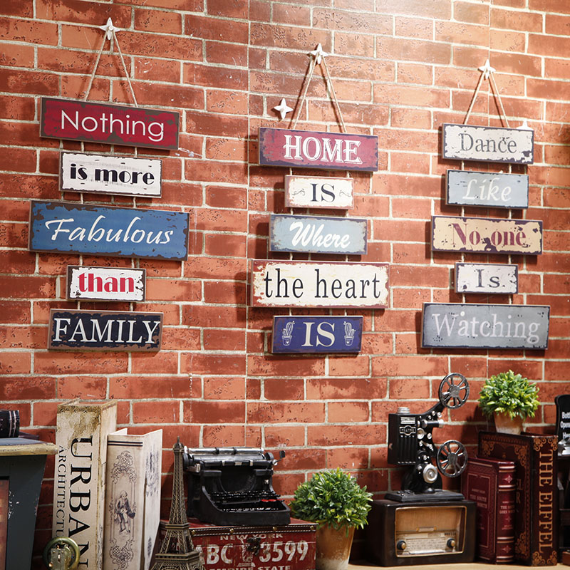 Cafe bar club decorative hanging wooden signs home shop for Bois decoration murale