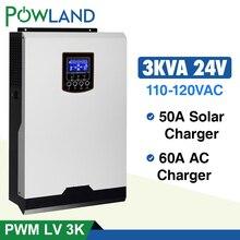 Солнечный инвертор 110V PWM 3Kva 2400W безсеточный Инвертор 24V 120V 50A PWM чистый синусоидальный инвертор 60A зарядное устройство для батареи солнечный инвертор