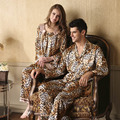 Novo 2016 Primavera e No Outono Pijamas De Mulher Pijamas Sexy Leopardo Homens Falso Seda Sleepwear Pijama Casal Leopard Pijama Mulheres