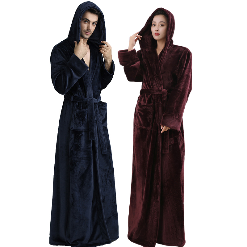 Men Women Hooded Plus Size Extra Long Warm Bathrobe Winter Thickening Flannel Thermal Bath Robe Male
