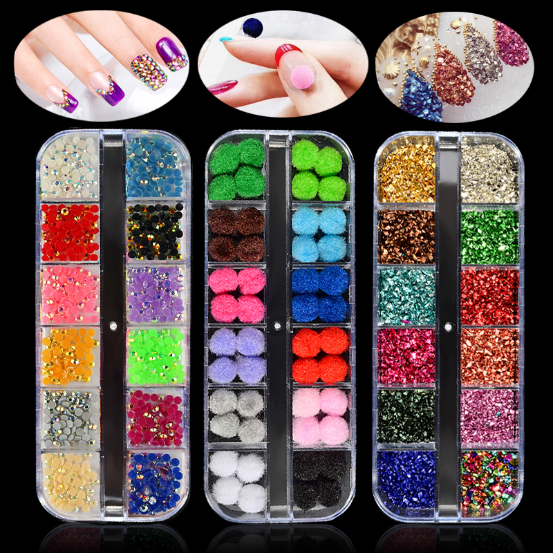 1 Box AB Jelly Rhinestones 3d Colorful Nail Sequins Crushed Stones Fur Ball For DIY Accessories Glitter Nail Art Decorations kid s box 2ed 6 ab online resources