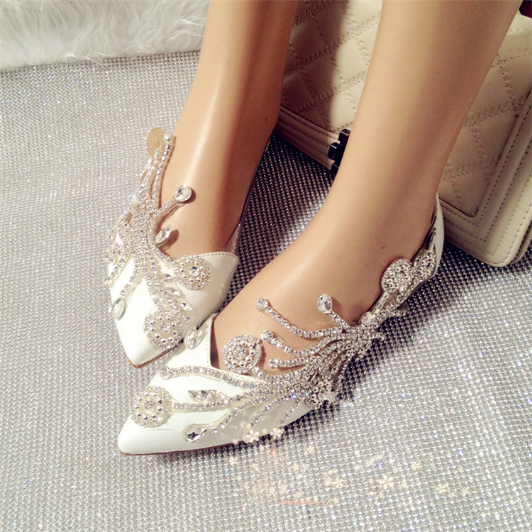 2015 new beautiful wedding shoes pointed toe rhinestone bridal shoes 2015 new beautiful wedding shoes pointed toe rhinestone bridal shoes summer sweet women single flat shoes luxury prom flats in womens flats from shoes on junglespirit Image collections