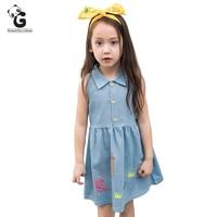 Blue Denim Girls Dress Sleeveless Summer Cute Dresses For Teens Girls Christmas Dresses Kids Girl Party