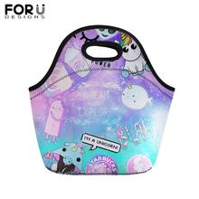 FORUDESIGNS Lovely Alien Printing Lunch Bag for Kids Portable Food Women Girl Boy Thermal Insullate Tote Lunchbag Picnic Box