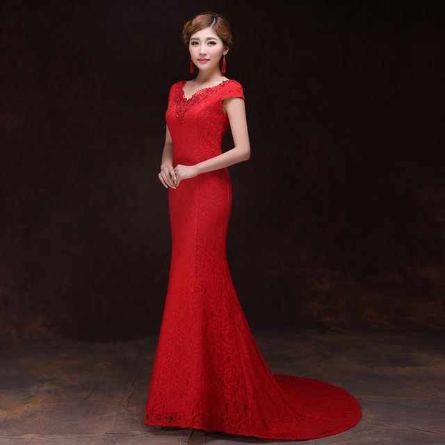 19b6ceede1 Red Lace Wedding Dress Women Oriental Evening Dress Long Cheongsam Vestidos  Qipao Traditional Chinese Gown Sexy Qi Pao TSHN -in Cheongsams from ...