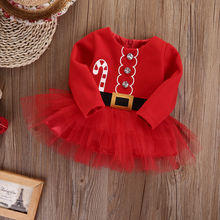 Cute Christmas Princess Baby Girl Dress Long Sleeve Red First Birthday Girl Party Toddler Tulle Tutu Baby Girl Clothes Costume