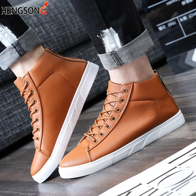 Spring Men Casual Shoes Fashion Pu Leather Shoes for Lace Up Men Summer Mens Flat Shoes Loafers Size 39-44,Yellow,10