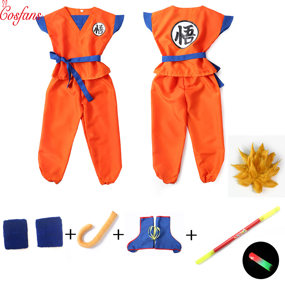 ff624030650b 8PCS Dragon Ball Z Clothes Suit Son Goku boy Cosplay Costumes For Adult  Kids Halloween Costume