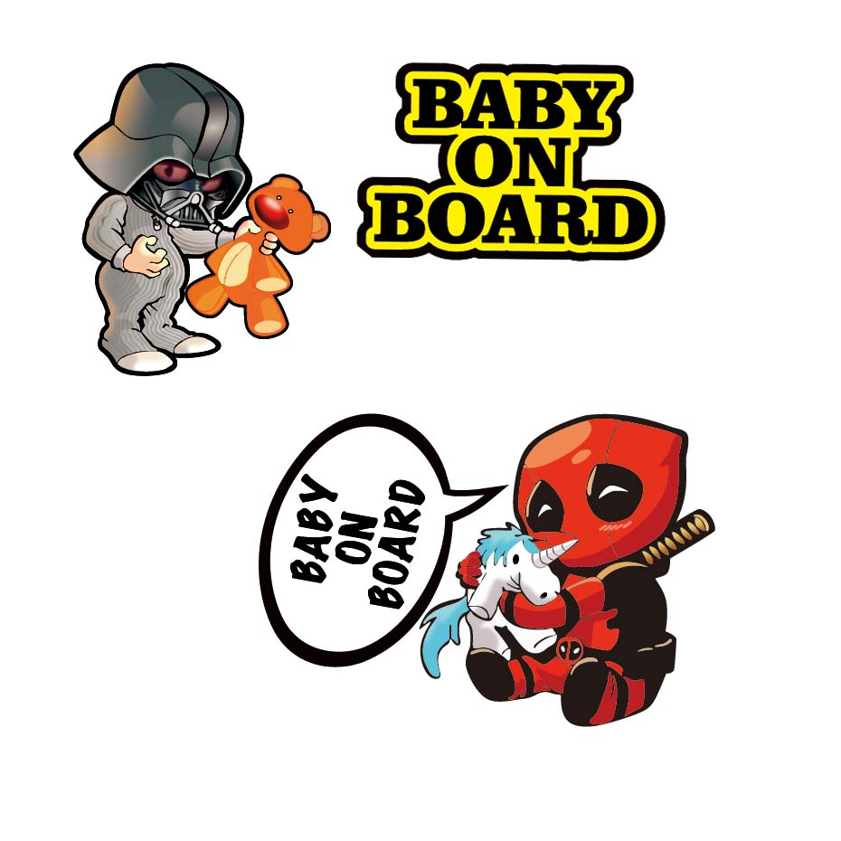 Sticker Baby Deadpool on Board pour voiture et moto
