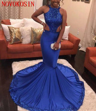 Stunning Royal Blue Mermaid 2019 Sequined African Evening Party Dresses Backless Halter Satin Formal Gown