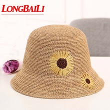 Summer Fashion Floral Raffia Straw Sun Beach Hat For Women Wide Brim Bucket Caps Female SWDS001