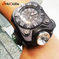 Usb Rechargeable CREE Q5 multifunction LED flashlight watch compass Led torch