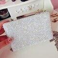 Luxury full diamond stitching Pu mini clutch evening bags women's handbag shoulder bag chain purse white messenger bags