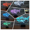 3D Shark Kid Night Animal Optical Illusion Table Light Lamp Touch 7 Color Nursery Home Light Party Decor Friend&Holiday Gift