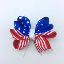 4 Girls 4th July  Hair Bows With Alligator Clip for girls Fourth 2 layers Baby Accessories