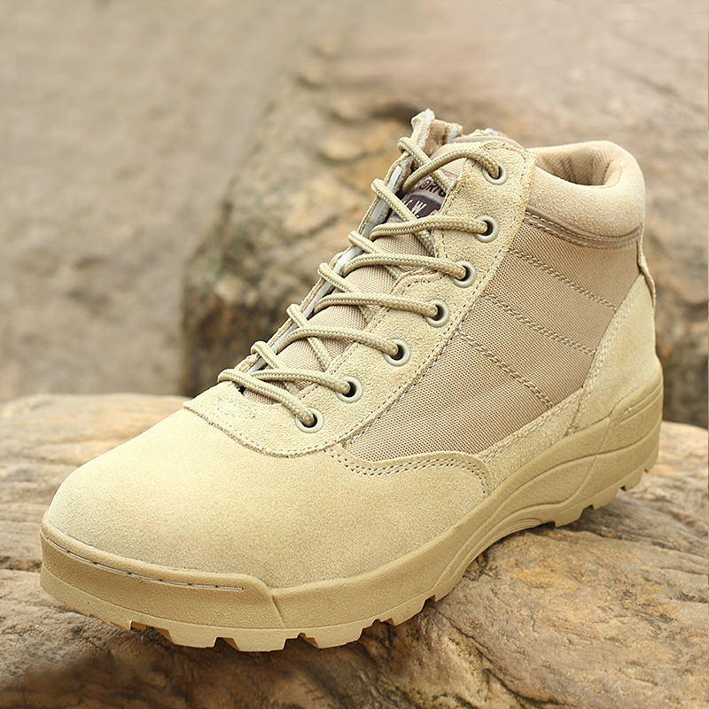 Men s Fashion Outdoor Genuine Leather Anti slip Military Combat Boots Men Army Tactical Short Ankle