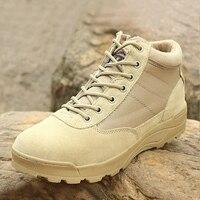 Moda Ao Ar Livre dos homens de Couro Genuíno Anti-slip Botas De Combate Dos Homens Do Exército Militar Tático Botas Curtas Tornozelo Sapatos Botas Hombre
