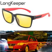 LongKeeper New Polarized Night Vision Sunglasses Men Women Square Yellow Lens Sun Glasses Safety Drive Eyewear Oculos