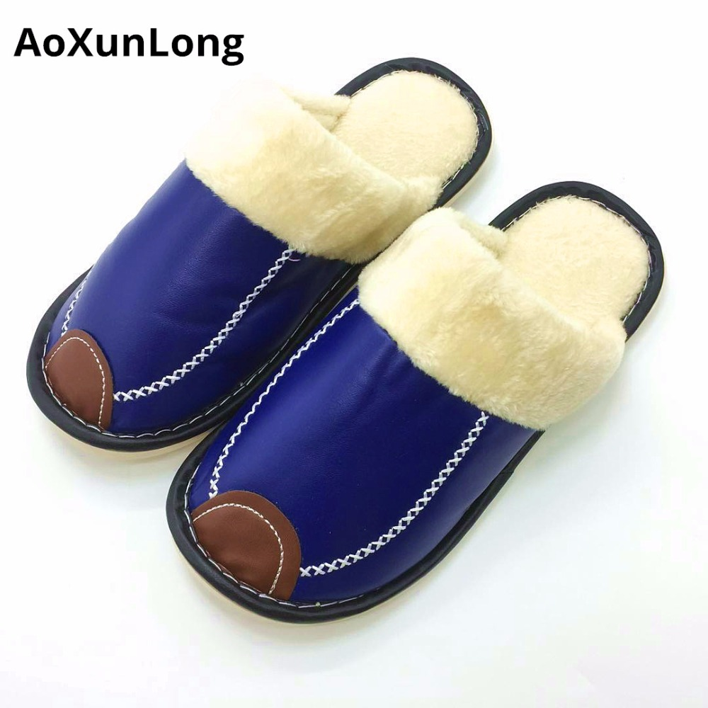 Men Slippers Plush Winter Warm Home Slippers Leather Flat Indoor Casual Shoes Men Black Size 42/45 Flip Flop Cotton Slippers Men fghgf shoes men s slippers mak