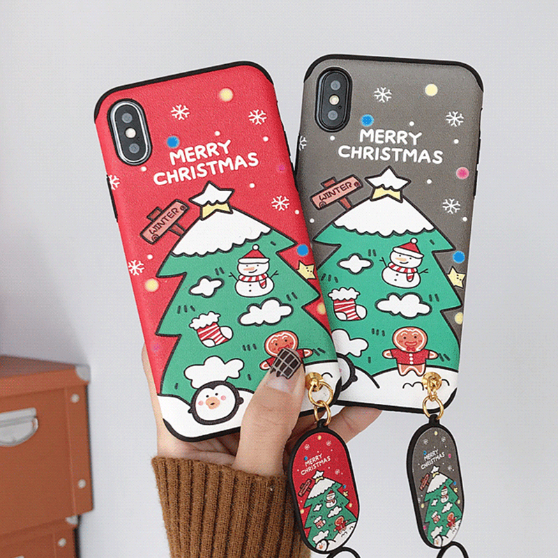 Christmas Tree Embossed Case For iPhone 6 6Plus 6S 7 8 Plus X XS Max Cover Matte Silk Patterned Phone Coque For iPhone XR Case