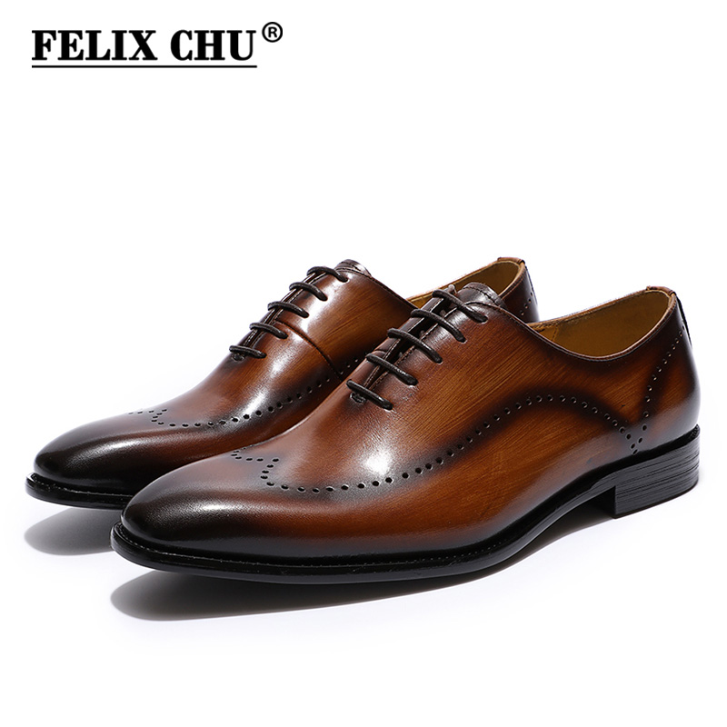 FELIX CHU Men's Brogues Oxford Wingtip Genuine Leather Dress Shoes for Business Lace-up Brown Black Mens Office Wedding Shoes felix chu luxury classic genuine leather men wedding brogue oxford with wingtip lace up burgundy office party formal dress shoes